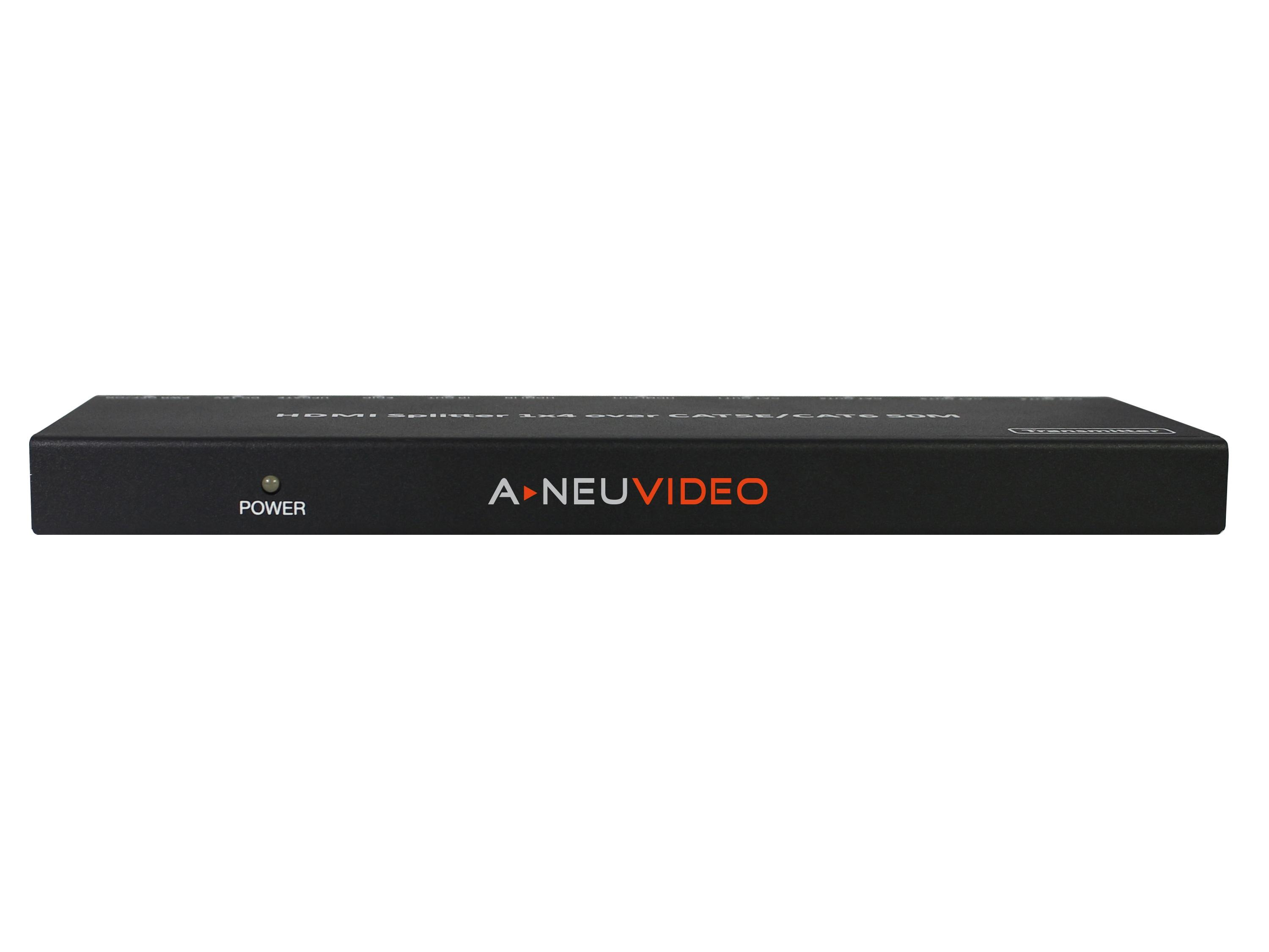 ANI-0104POE 1x4 HDMI Extender/Splitter with Receivers Over CAT5e/6 PoE by A-NeuVideo