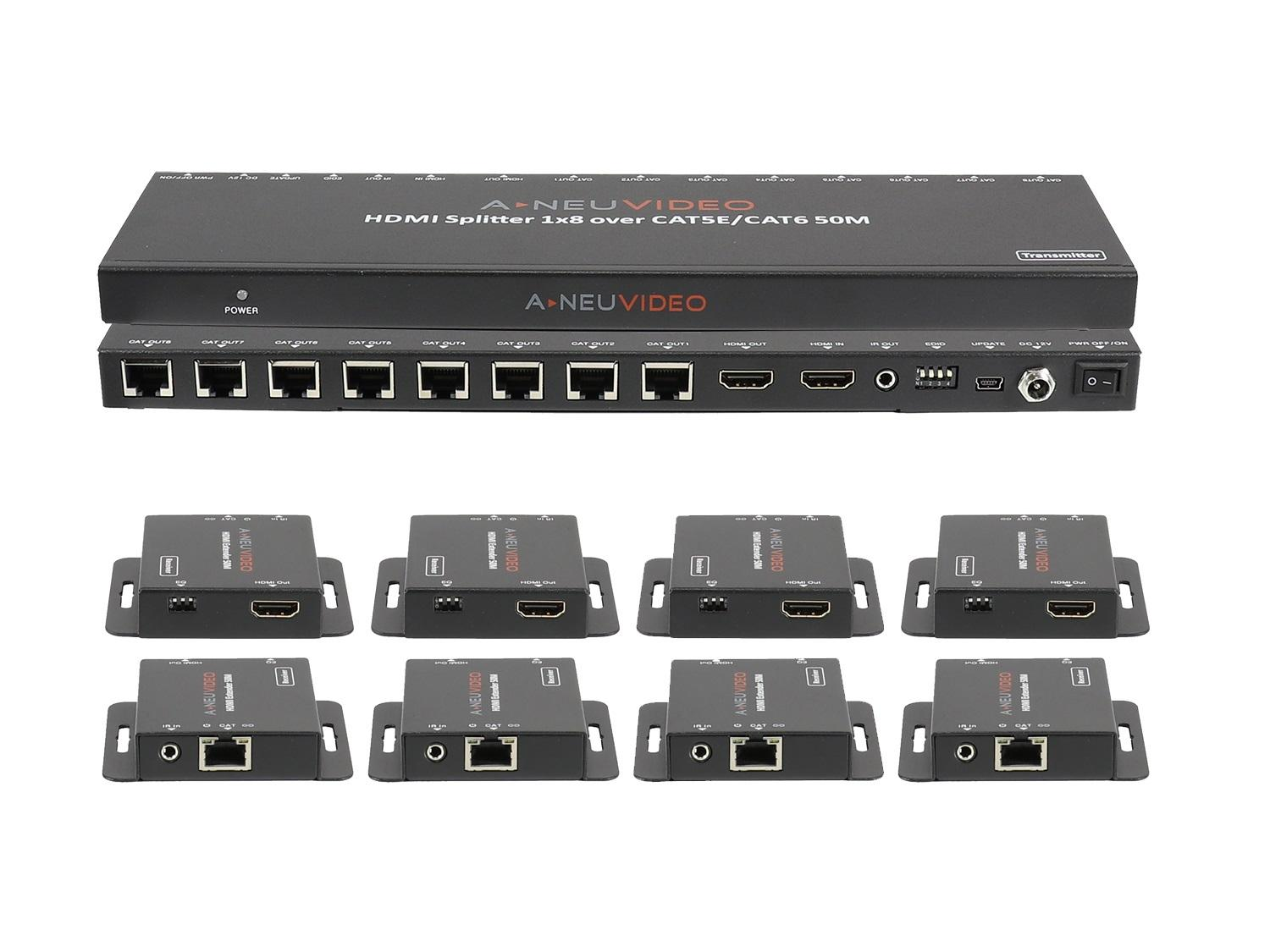 ANI-0108POE 1x8 POE HDMI Splitter Extender 150ft/45m over CAT5e/6 with 8x Receivers by A-NeuVideo
