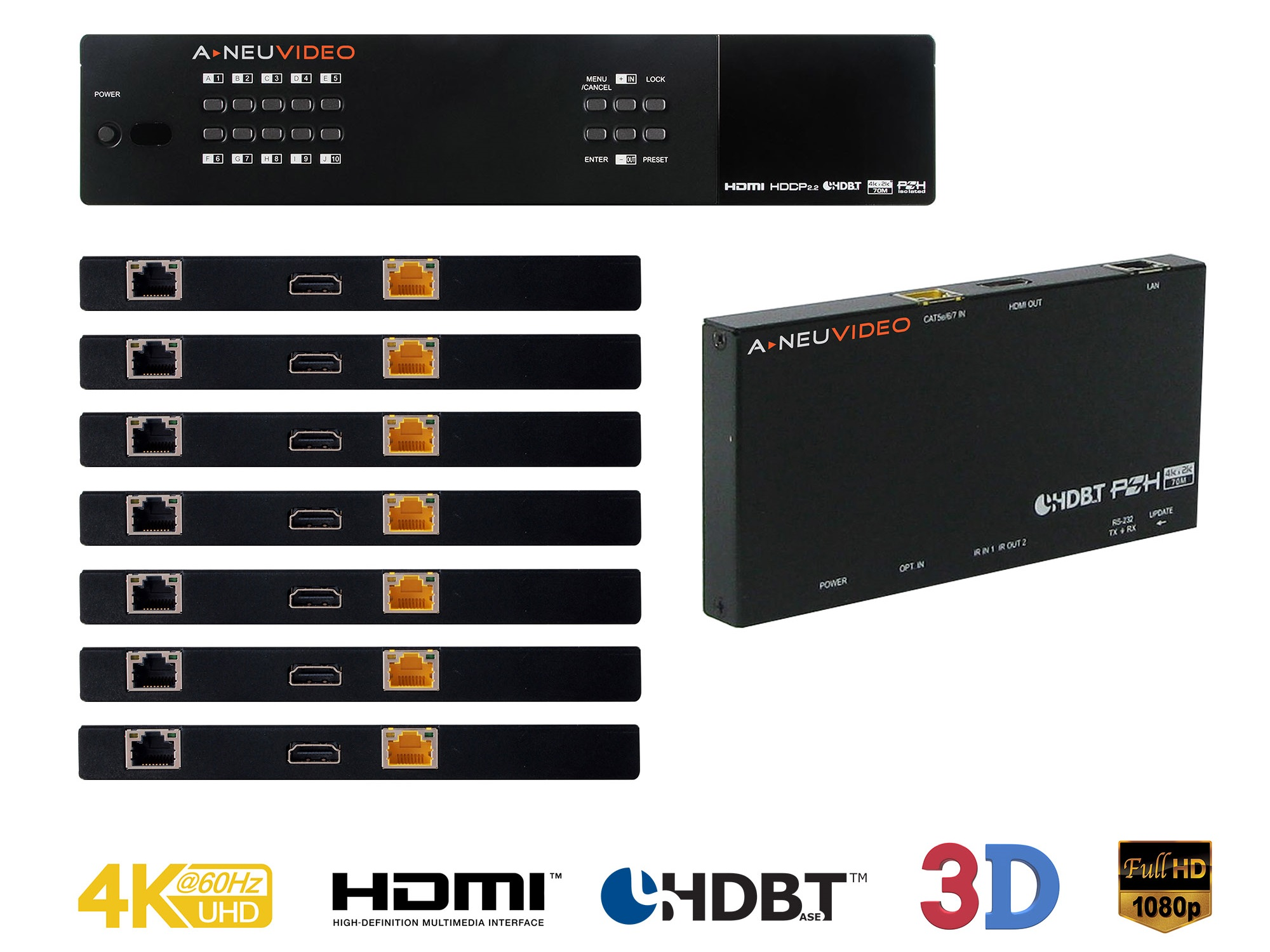ANI-1082UHD-KIT 10x10 HDMI/HDBaseT 4K/60Hz and Audio Matrix Routing Switcher Kit by A-NeuVideo