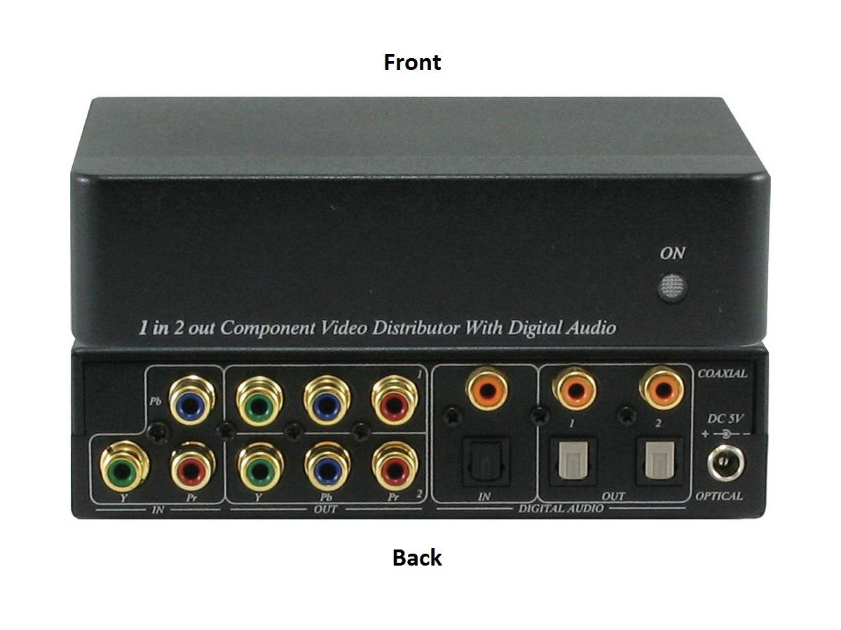 ANI-1X2COMPDA 1x2 Component Video(RCA) Splitter Distribution Amplifier With Digital Coaxial/Optical Audio by A-NeuVideo