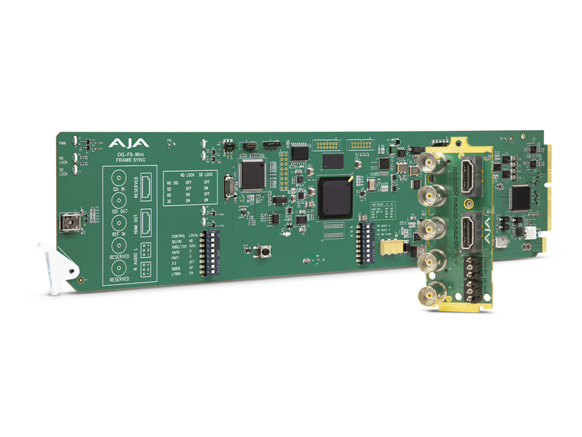 OG-FS-Mini 3G-SDI Frame Synchronizer/Mini-Converter with SDI/HDMI Simultaneous Outputs/DashBoard Support by AJA