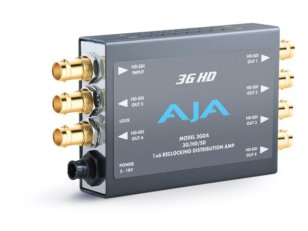 3GDA-b 1x6 3G/HD/SD Reclocking Distribution Amp 3G/HD/SD-SDI and 6 SDI outs by AJA