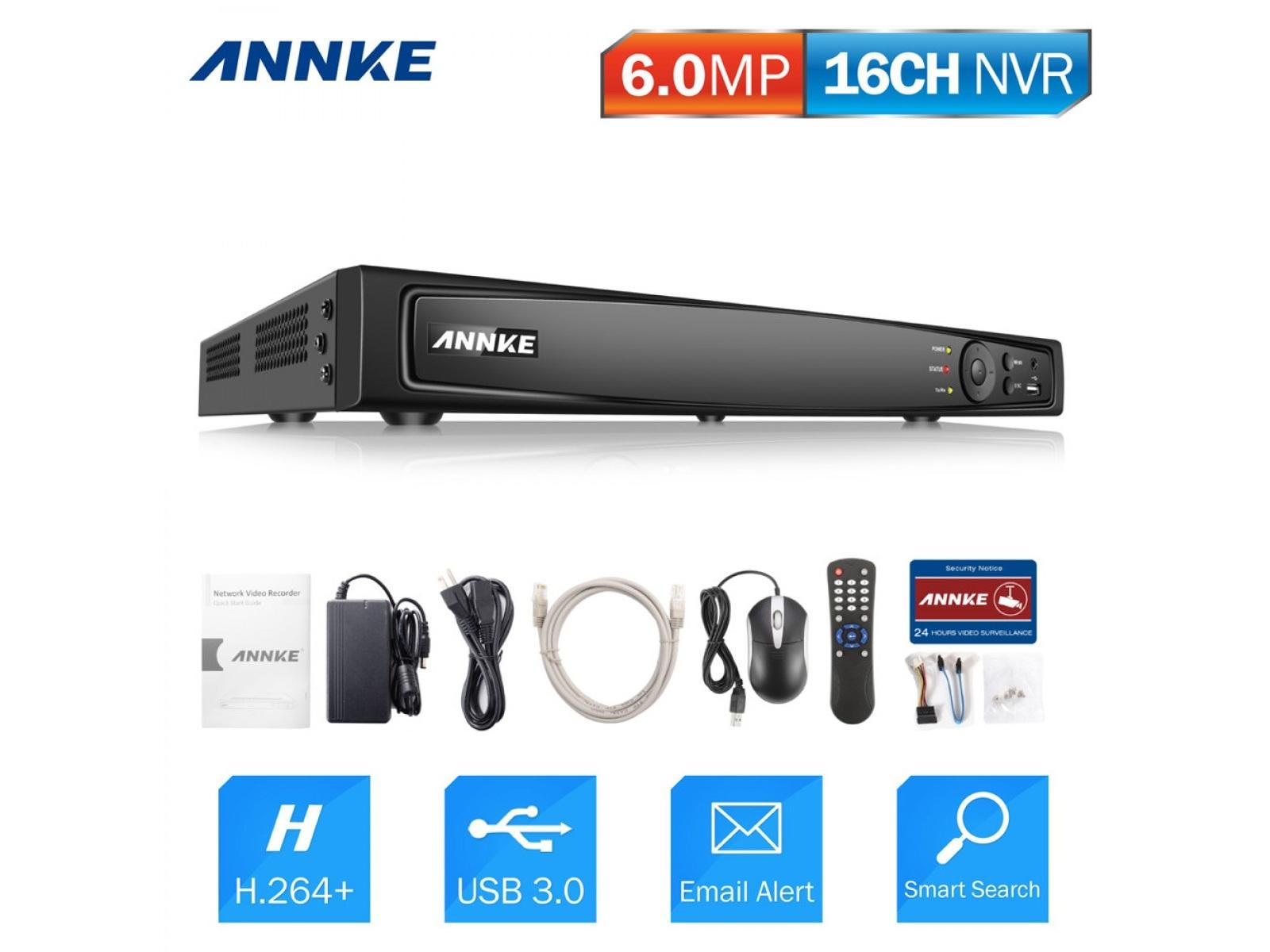 N46PI 16CH HD 6MP POE NVR Advanced H.264 Video Compression by Annke