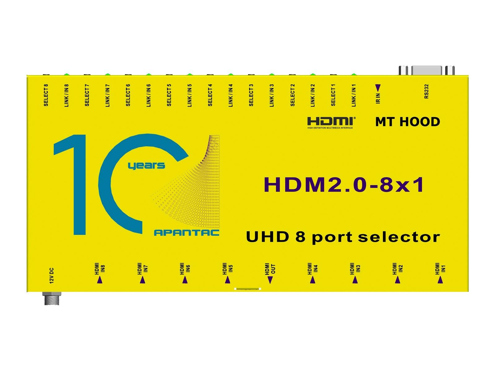 HDM2.0-8x1 8x1 4K 60Hz HDMI 2.0 and HDCP 2.2 Switch by Apantac