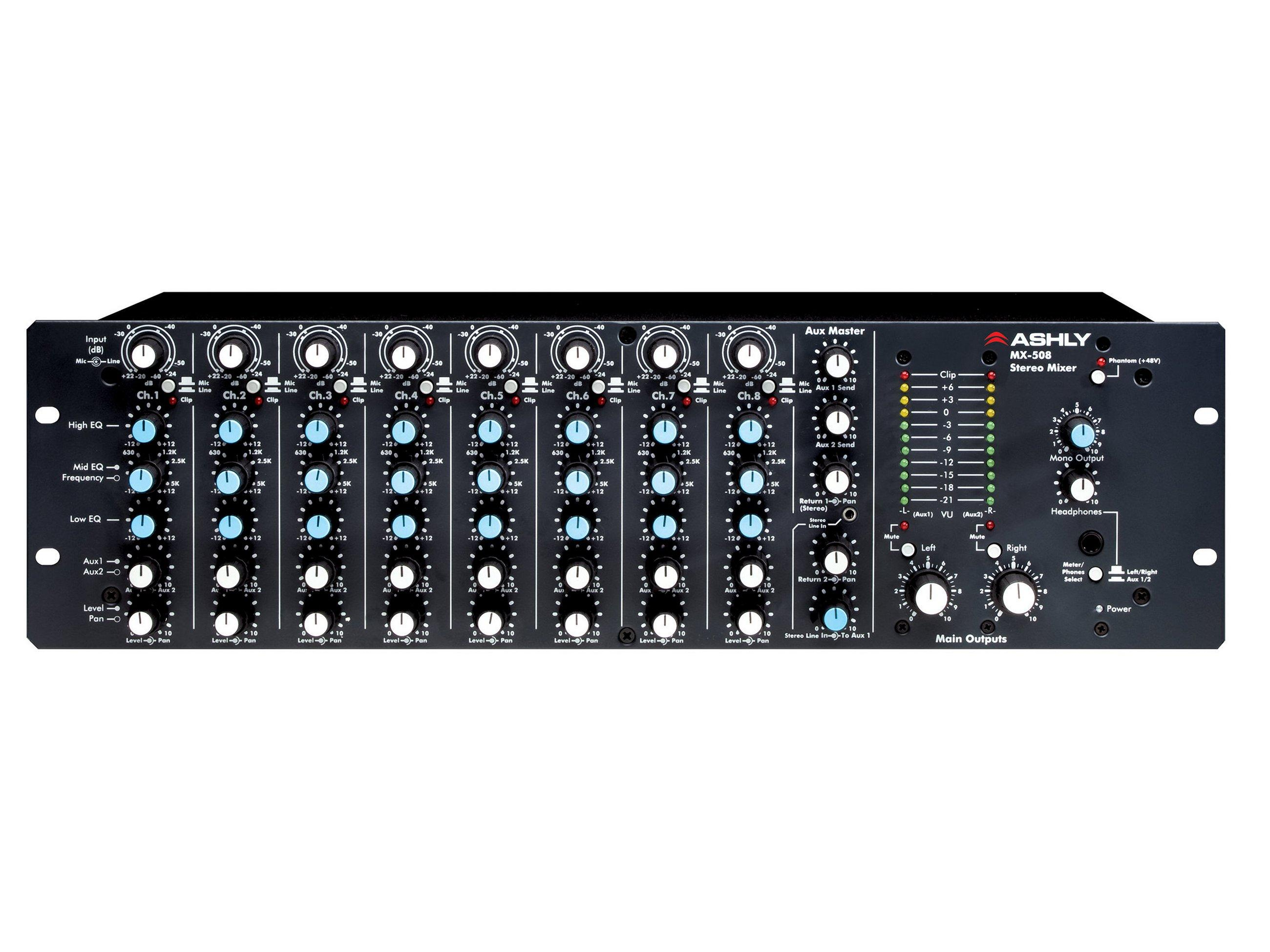 MX-508 Mixer 8 Input Stereo with EQ and Sends/3U by Ashly