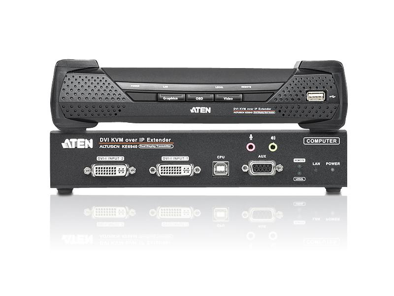 KE6940 USB DVI-I Dual Display KVM Over IP Extender (Transmitter/Receiver) Kit by Aten