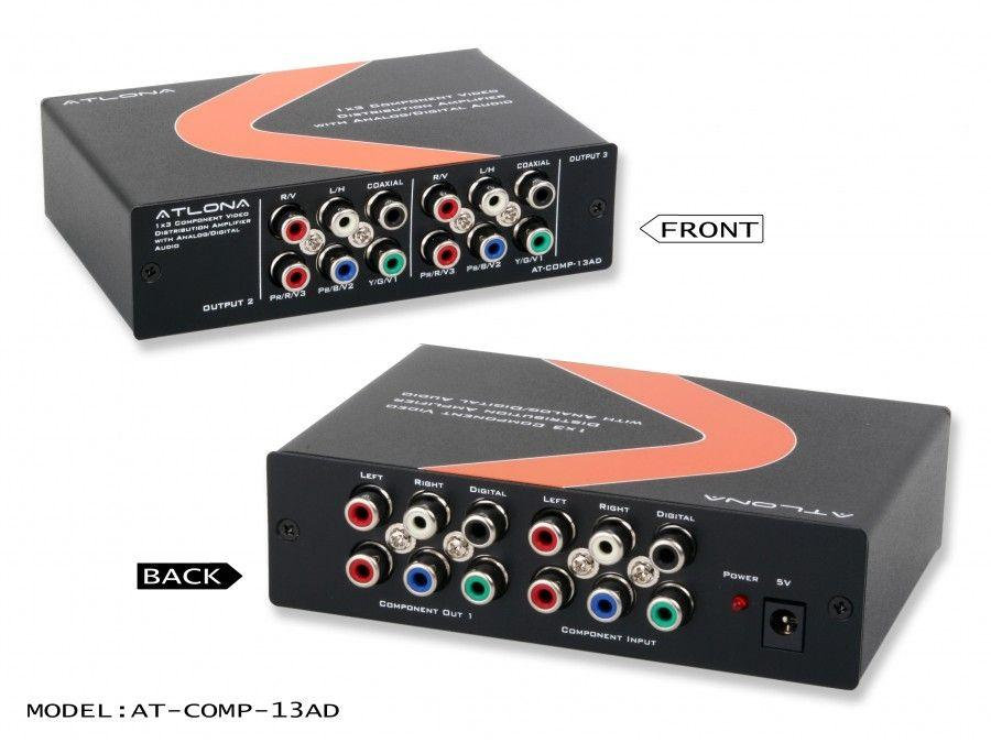 AT-COMP-13AD 1X3 Component Video W/Audio Distribution Amplifier by Atlona