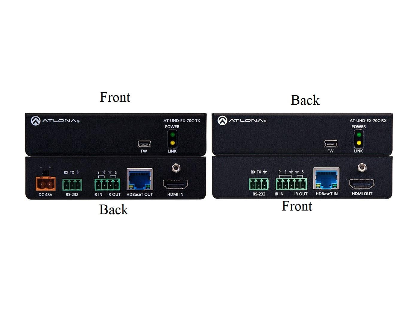 AT-UHD-EX-70C-KIT-B 4K/UHD HDMI Over HDBaseT Extender(Receiver/Transmitter) Kit with Control and PoE by Atlona