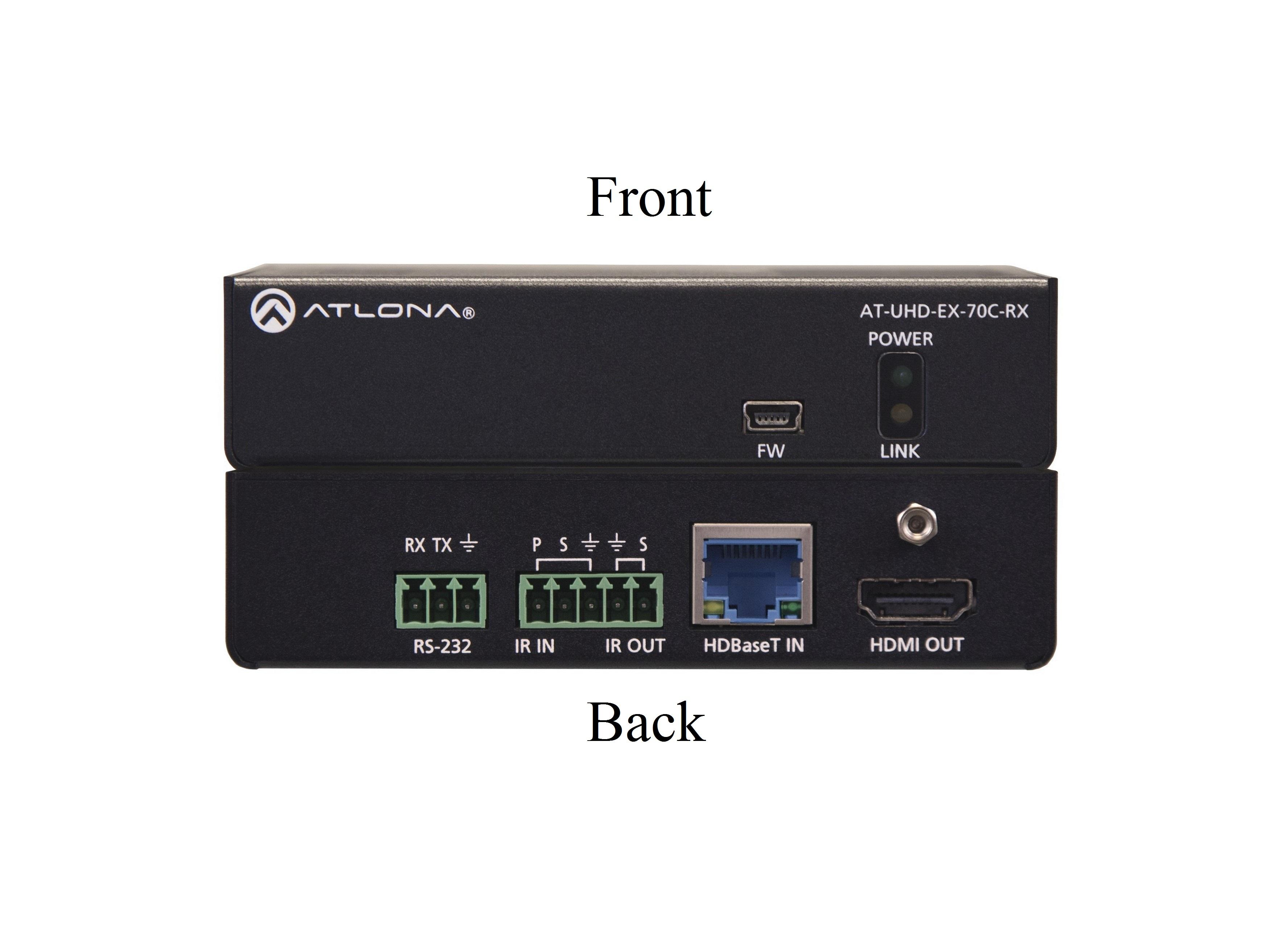 AT-UHD-EX-70C-RX 4K/UHD HDMI Over HDBaseT Receiver with Control and PoE by Atlona