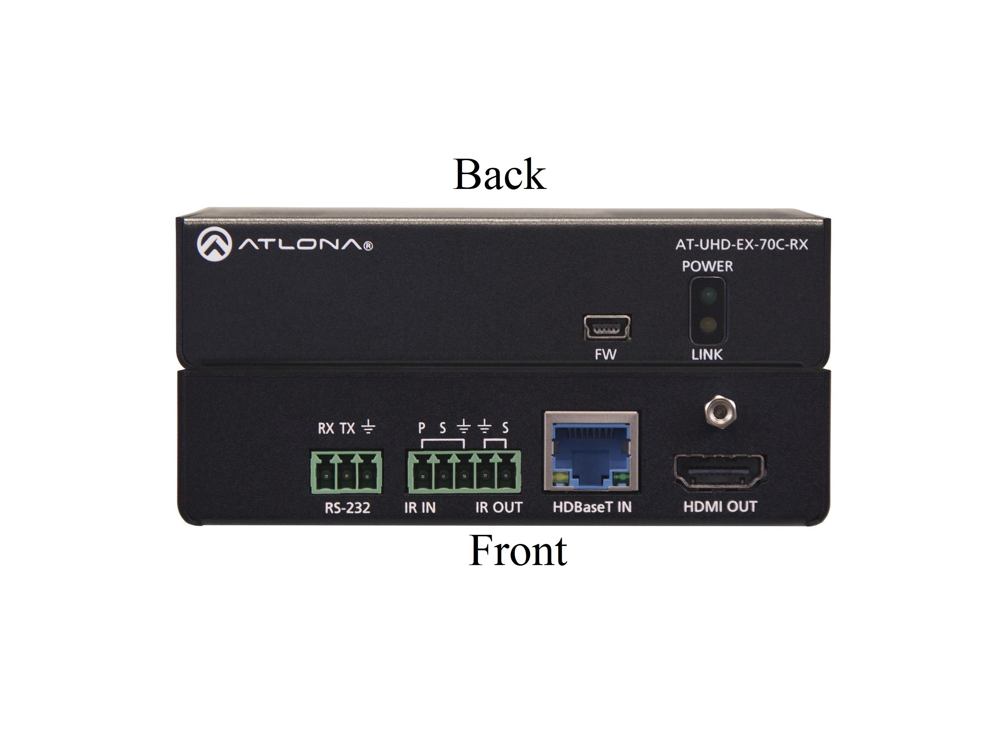 AT-UHD-EX-70C-RX-B 4K/UHD HDMI Over HDBaseT Receiver with Control and PoE by Atlona
