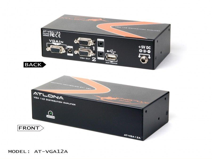 AT-VGA12A-b 1x2 VGA Distribution Amplifier with Audio and Constant Power ON by Atlona