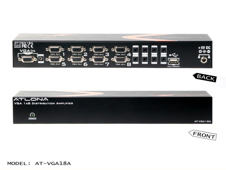 AT-VGA18A 1x8 VGA Distribution Amplifier with Audio and Constant Power ON by Atlona