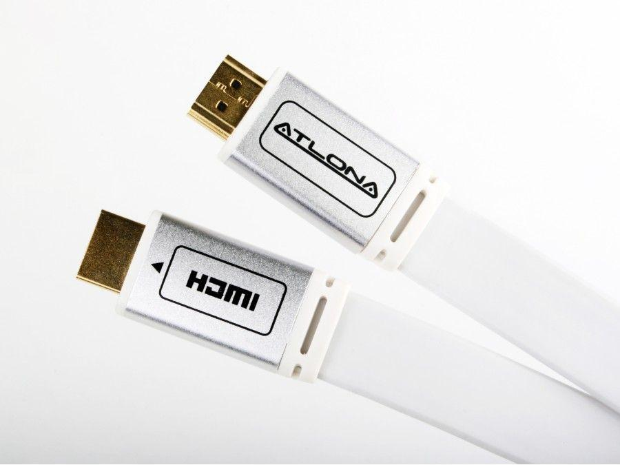 ATF14032W-5-b 15 FOOT ATLONA FLAT HDMI CABLE - WHITE (HDMI 1.4) by Atlona