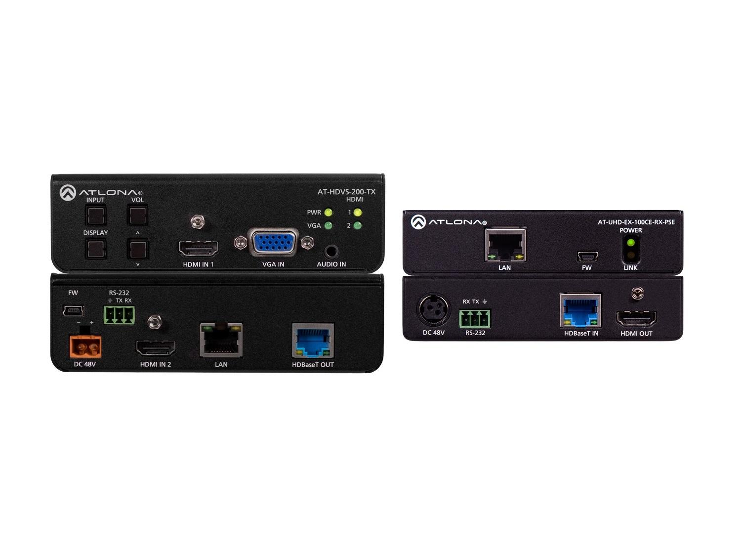 4K-HDVS-EXT 4K/UHD HDBaseT PoE Extender (Transmitter/Receiver) Kit with Switcher by Atlona