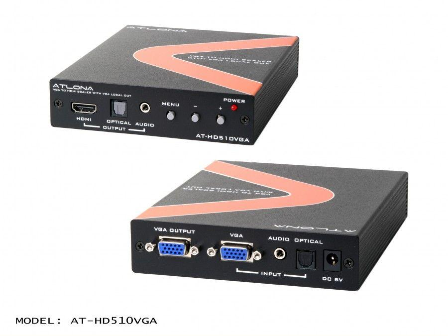AT-HD510VGA-b PC/Component to HDMI Scaler with local PC/Component output by Atlona
