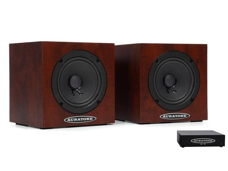 5C Mahogany with Amp Super Sound Cube/Passive Monitor/80-15000 Hz/Mahogany (Pair) with A2-30 Amplifier by Auratone