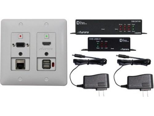DXW-2EUH-S2-W-4K HDBaseT HDMI/VGA/LAN/USB WP Extender  White by Aurora Multimedia