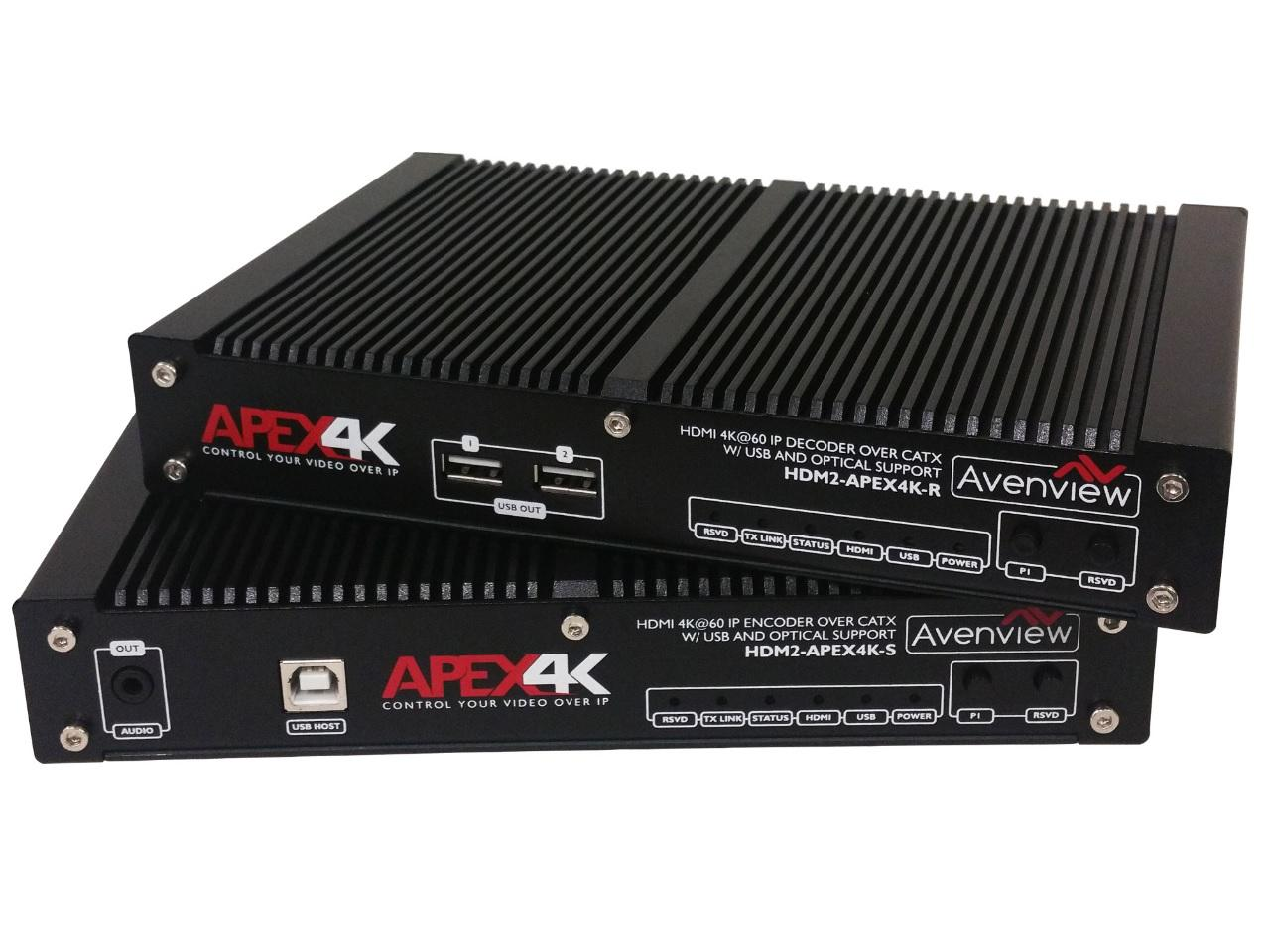 HDM2-APEX4K HDMI IP Extender(Transmitter/Receiver)Set Over CATX 10-Gigabit with 4k Video Wall/Matrix Functions by Avenview