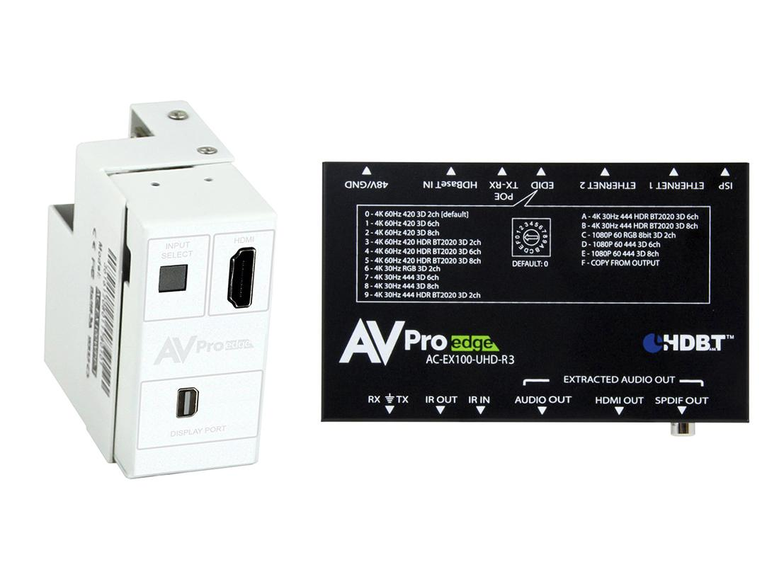 AC-CXWP-MDP-100KIT 4K Mini DP/HDMI/HDBaseT Decora Wall Plate Extender (Transmitter/Receiver) Kit up to 100m/330ft by AVPro Edge