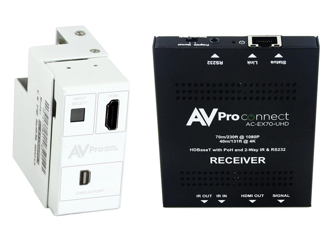 AC-CXWP-MDP-70KIT 4K Mini DP/HDMI/HDBaseT Decora Wall Plate Extender (Transmitter/Receiver) Kit up to 70m/230ft by AVPro Edge