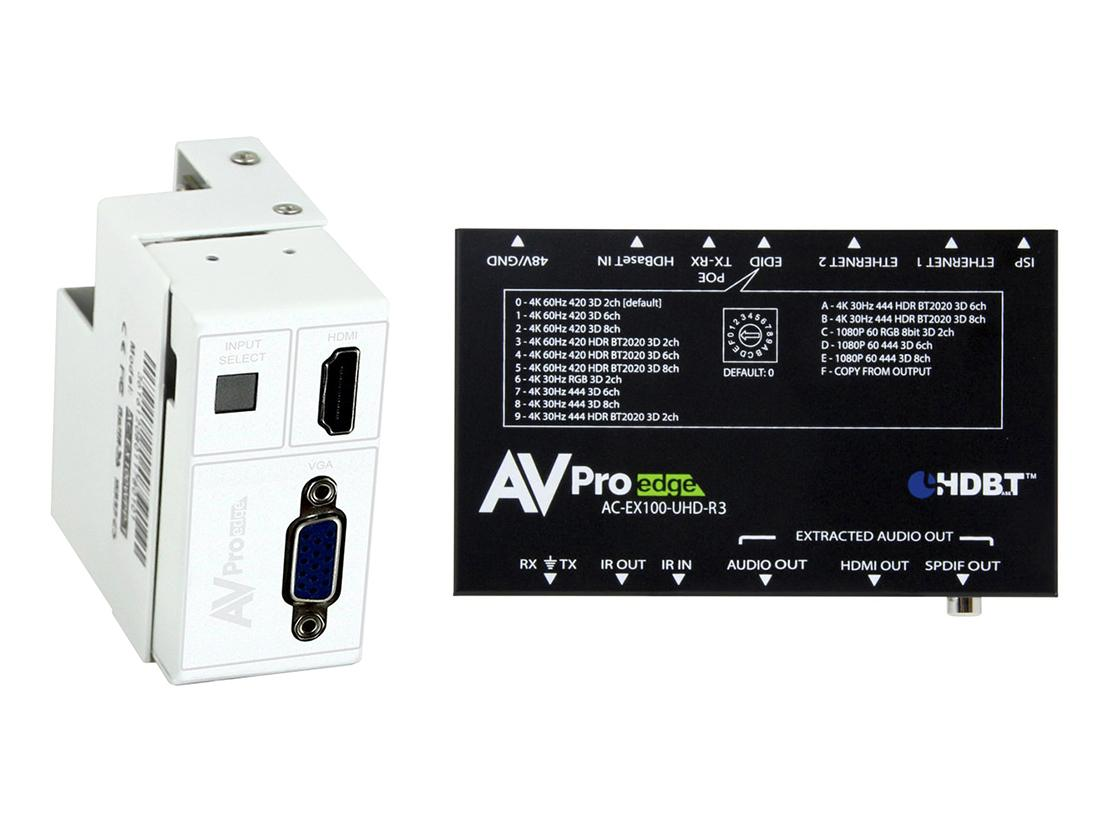 AC-CXWP-VGA-100KIT 4K VGA/HDMI/HDBaseT Decora Wall Plate Extender (Transmitter/Receiver) Kit up to 100m/330ft by AVPro Edge