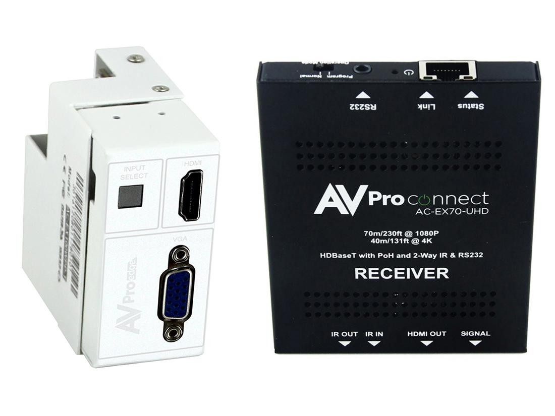 AC-CXWP-VGA-70KIT 4K VGA/HDMI/HDBaseT Decora Wall Plate Extender (Transmitter/Receiver) Kit up to 70m/230ft by AVPro Edge