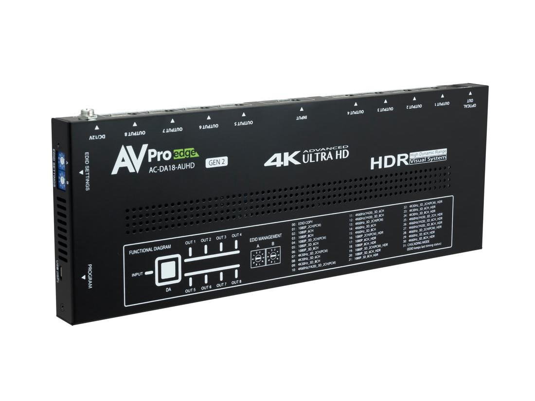 AC-DA18-AUHD-GEN2 1x8 4K60 HDMI 18 GBPS Splitter with HDR/EDID Management/Audio De-embedding by AVPro Edge