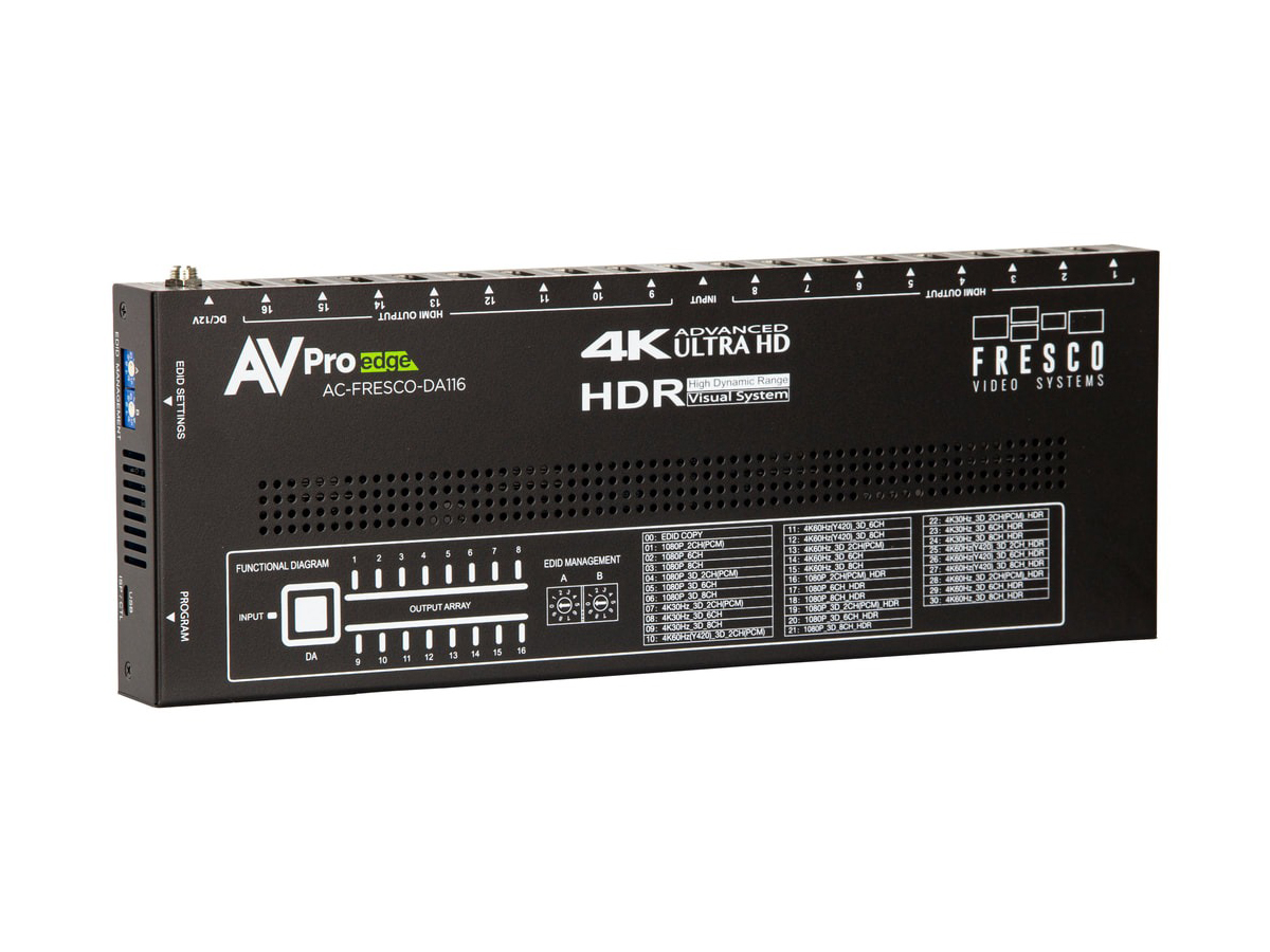 AC-FRESCO-DA116 4K60 18Gbps HDR 1x16 HDMI 2.0 Large-Scale Distribution Amplifier with EDID Control by AVPro Edge