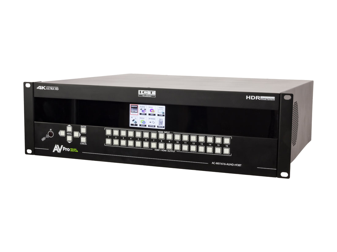AC-MX1616-AUHD-HDBT 18Gbps 4K 16x16 HDMI/HDBaseT Matrix Switch with ICT/mirrored HDMI/IR Routing/RS232/Audio Matrixing by AVPro Edge