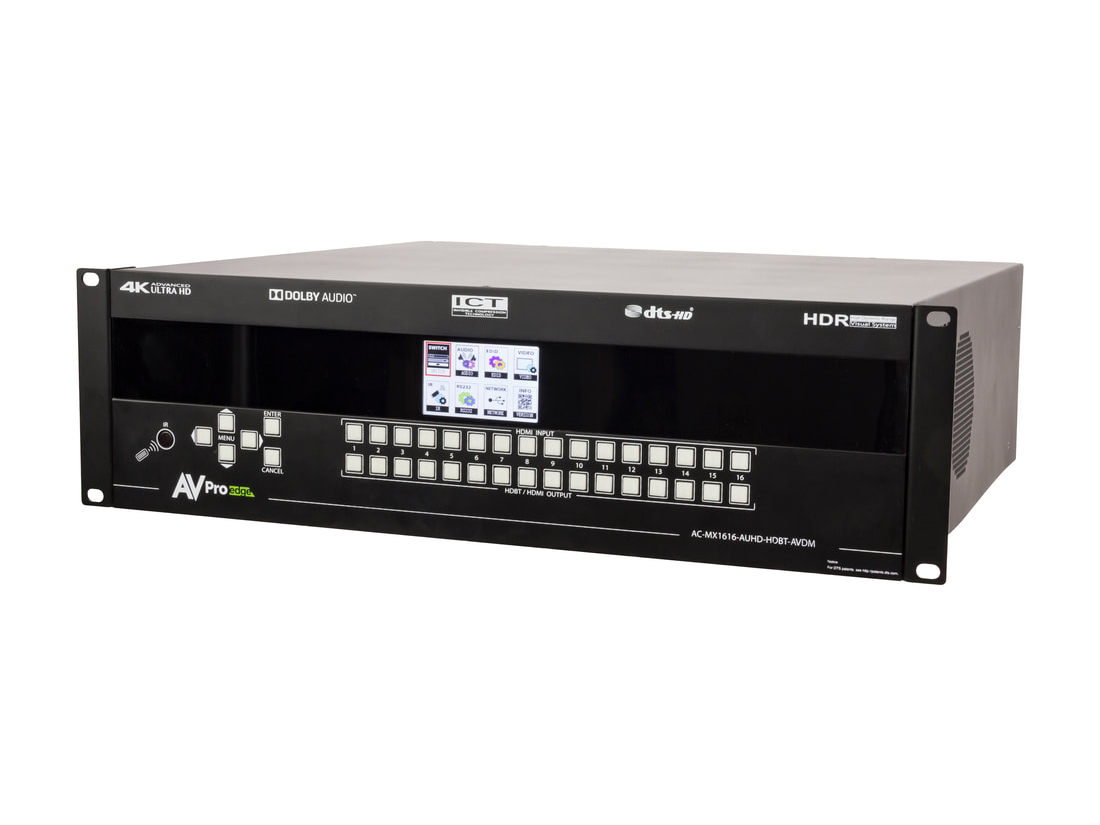 AC-MX1616-AUHD-HDBT-AVDM 18Gbps 4K 16x16 HDMI/HDBaseT Matrix Switch with ICT/mirrored HDMI/IR/RS232/Audio Matrixing/Downmixing by AVPro Edge