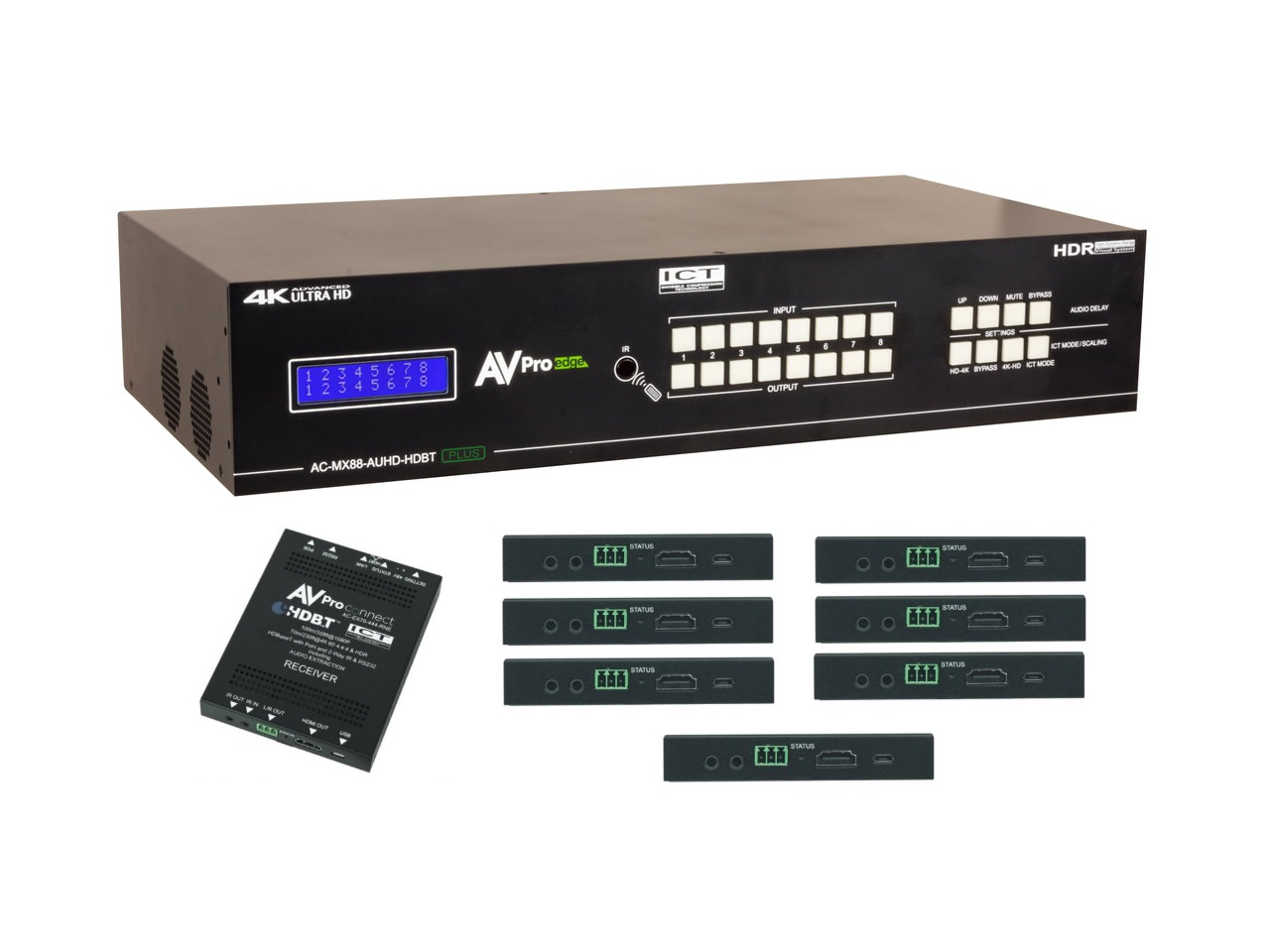 AC-MX88-AUHD-HDBT-P-KIT 18Gbps True 4K60 8x8 HDMI/Audio Matrix Switcher Kit by AVPro Edge