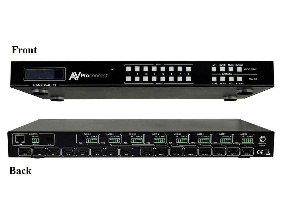 AC-MX88-AUHD-GEN2 18Gbps True 4K60 8x8 Matrix Switch with Digital Audio/Balanced Audio Out/Built in 4K Up/Down Scalers by AVPro Edge