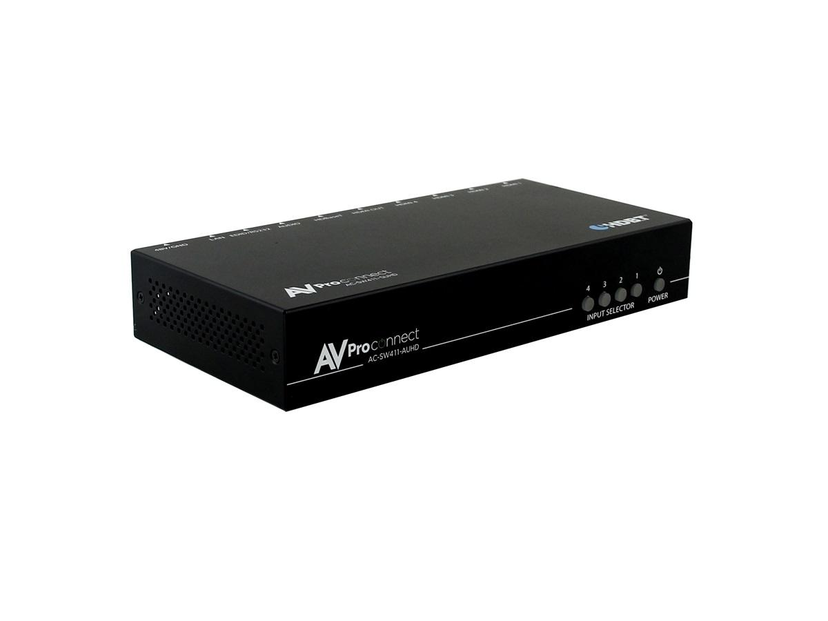 AC-SW411-AUHD 18GBPS 4x4x4 4x1 Best HDMI Switch with Remote/HDBaseT/Audio Extraction by AVPro Edge