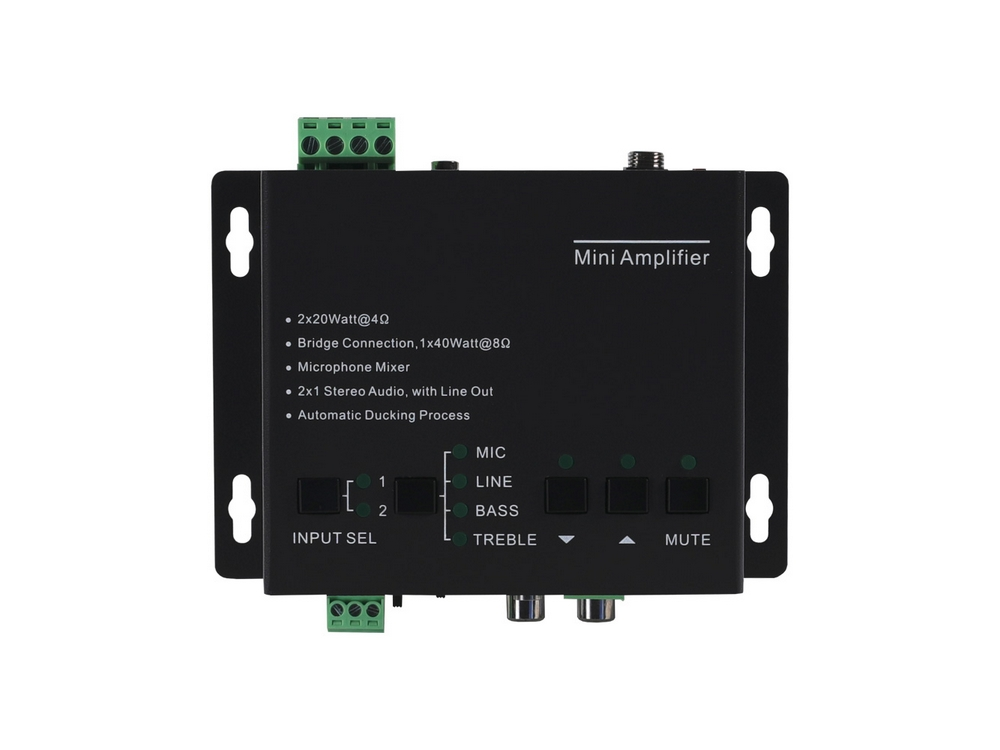 BG-AMP2X20 2 Channel 40W Compact Stereo/Mono Audio Amplifier with 3 Inputs by BZBGEAR