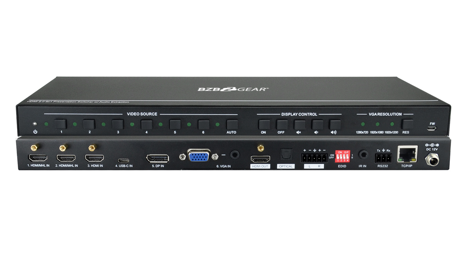 BG-PHDUV6X1 6x1 Multi-Format Presentation Switcher with HDMI/VGA and USB-C by BZBGEAR