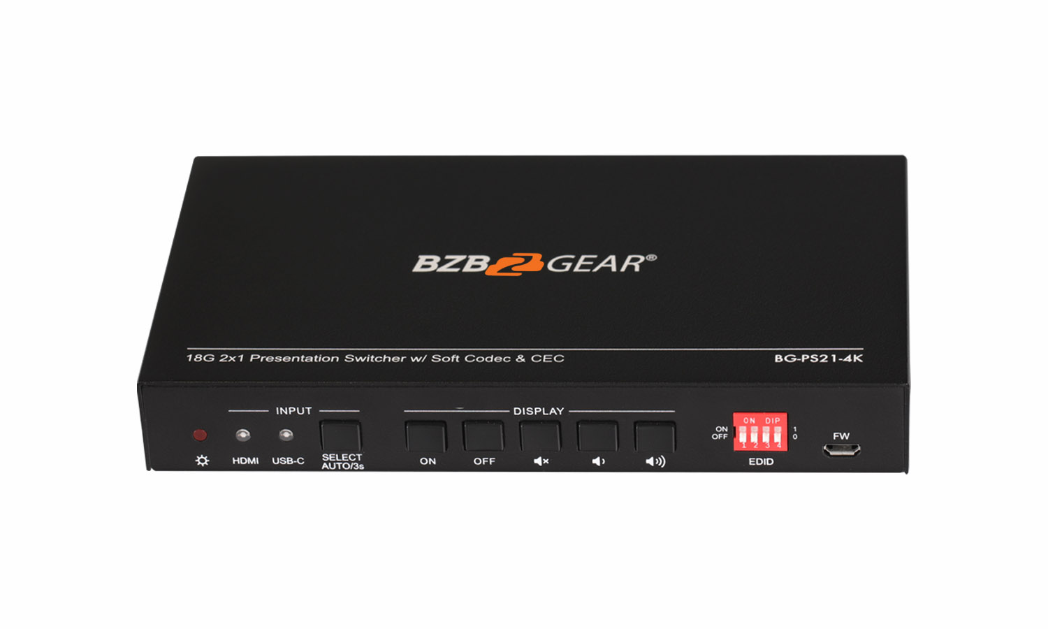 2x1 18G 60Hz 4x4x4 Presentation/2-Port KVM Switcher with HDMI and USB-C Inputs