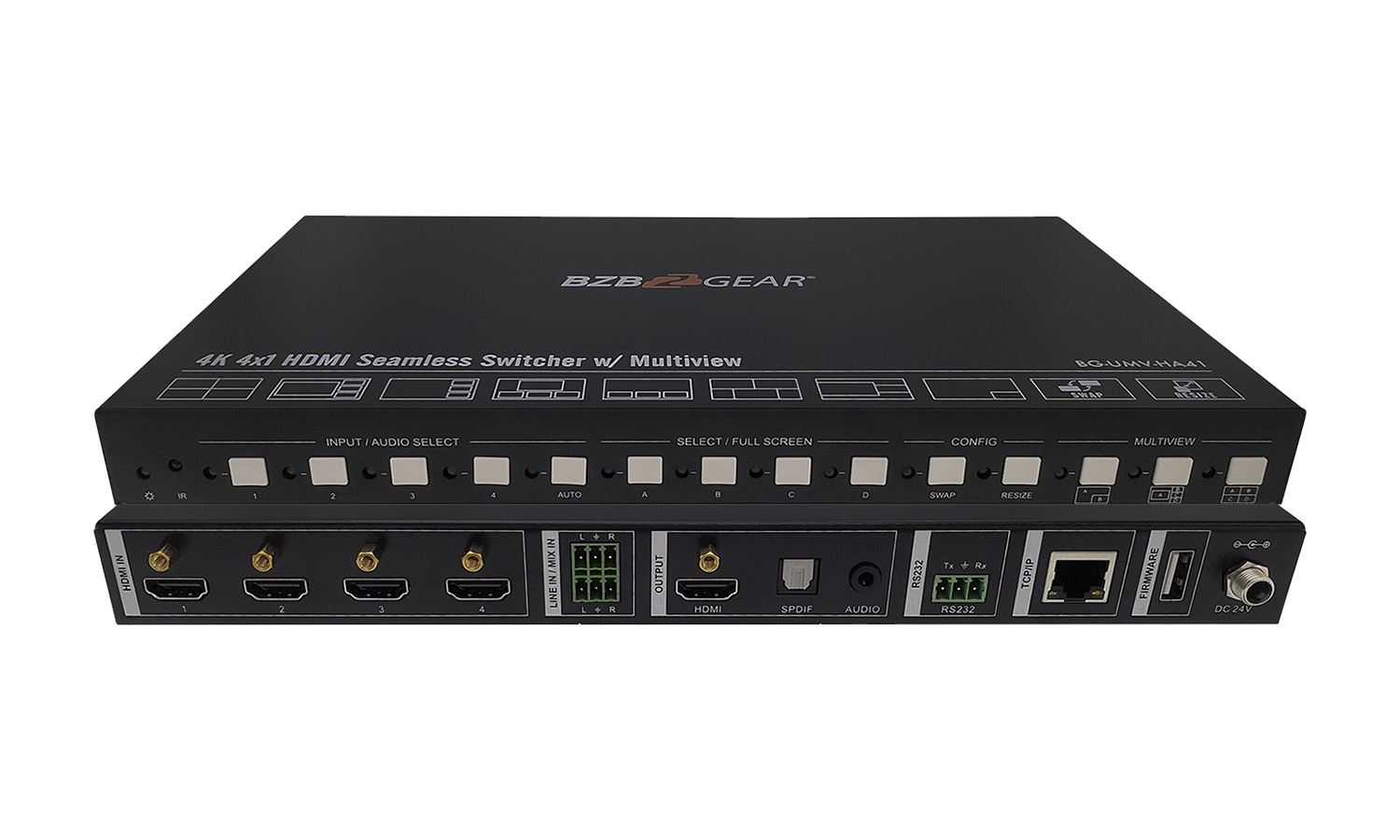 BG-UMV-HA41 4K 4X1 HDMI Seamless Switcher/Scaler with Audio and Multiview by BZBGEAR