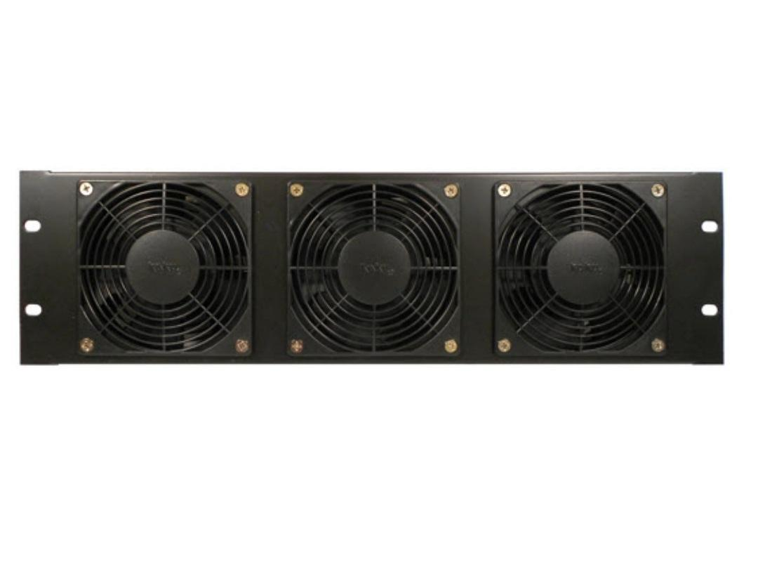 CT-FANRK-B Triple Fan Rackmount Panel/3RU Height/Black/Vent Out by Cabletronix