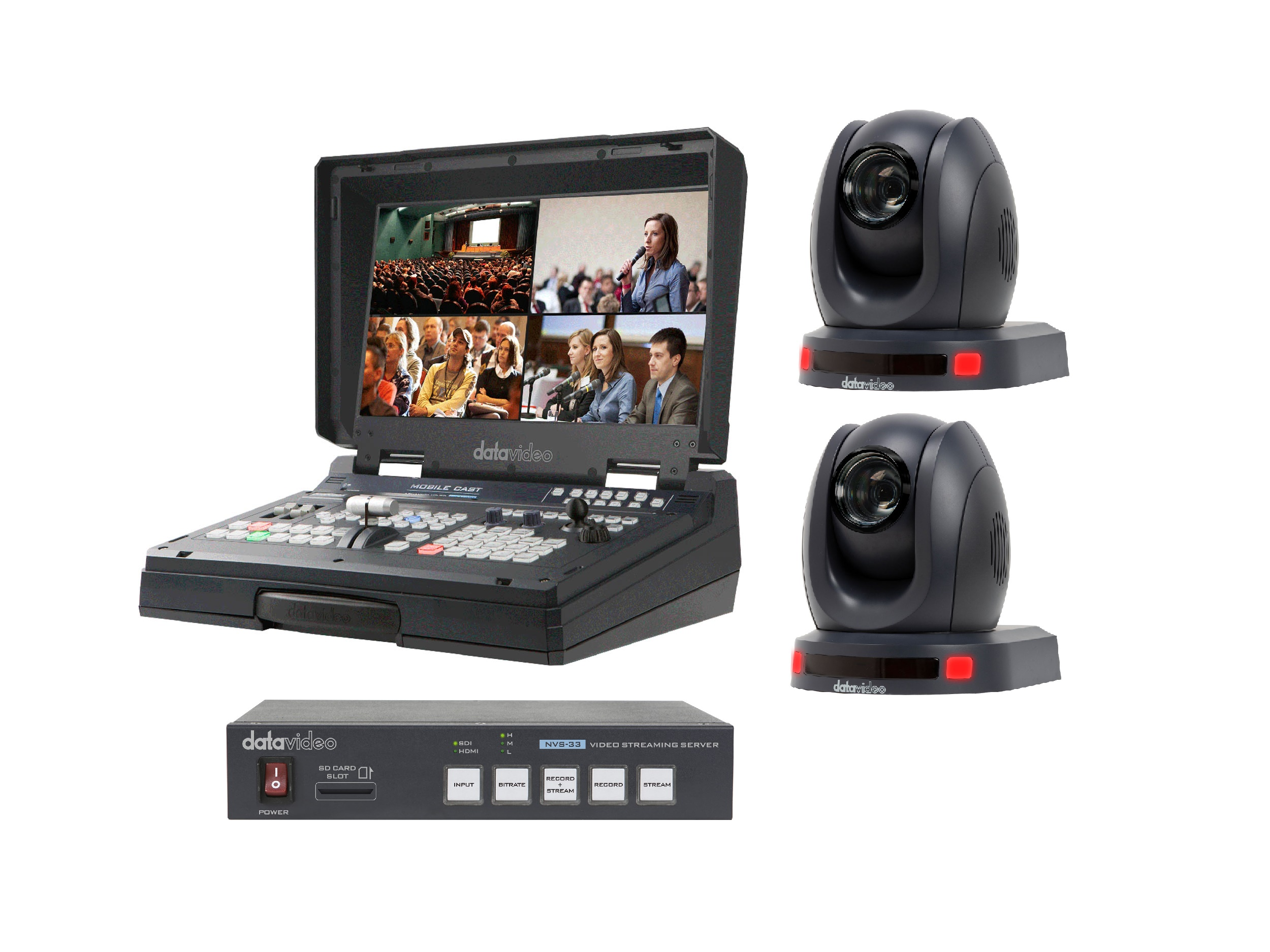 HS-1500T-2C-S One Operator Production/Presentation Streaming Solutions Kit with 2x Cameras by Datavideo