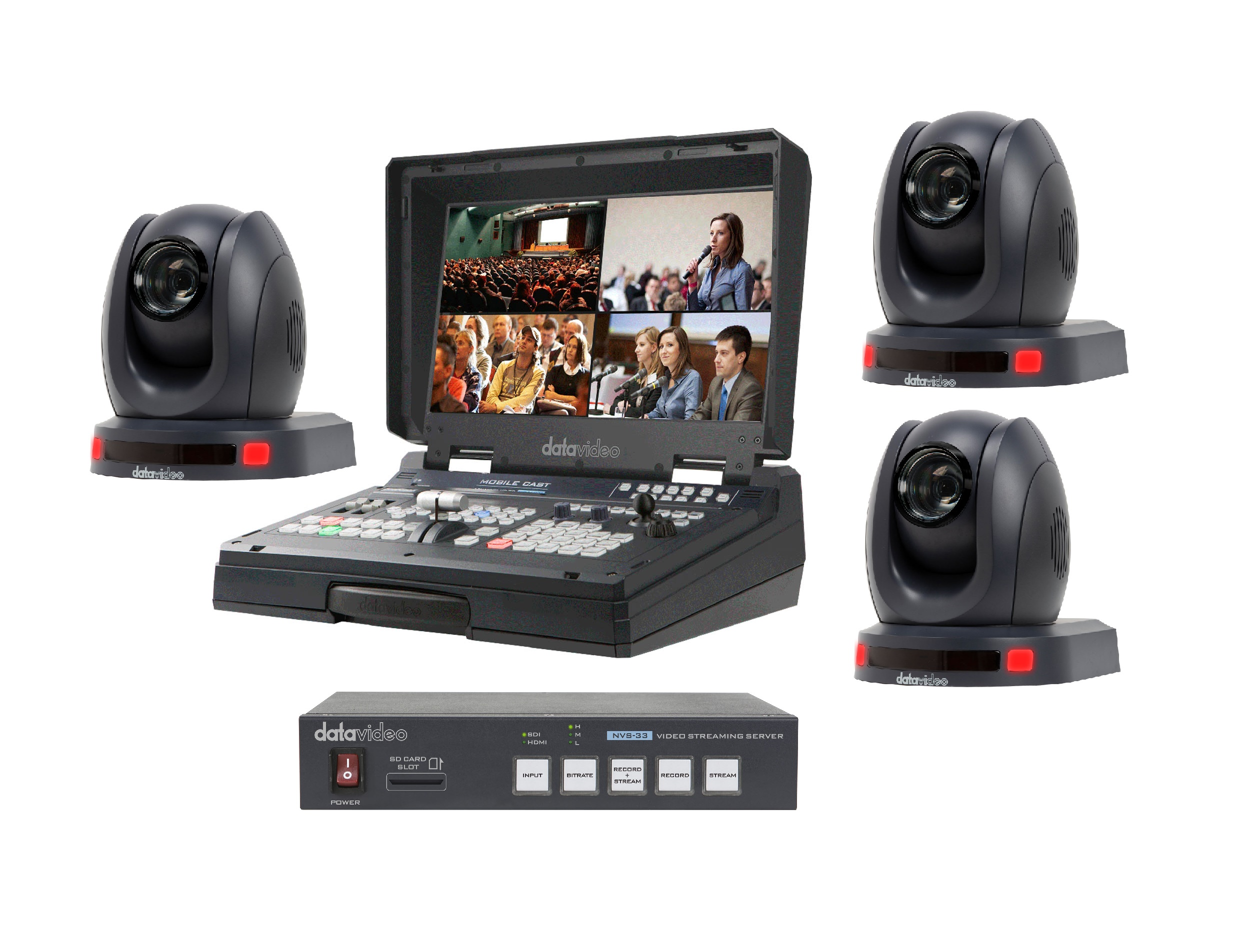 HS-1500T-3C-S One Operator Production/Presentation Streaming Solutions Kit with 3x Cameras by Datavideo