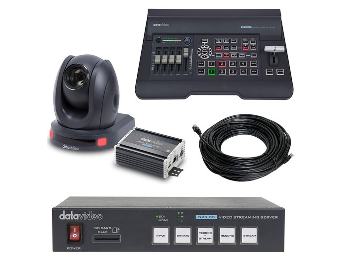 EZ STREAMING PACKAGE B EZ Streaming Package B with Switcher/PTZ Camera/HDBaseT Receiver Box/Encoder/100ft CAT6 Cable by Datavideo