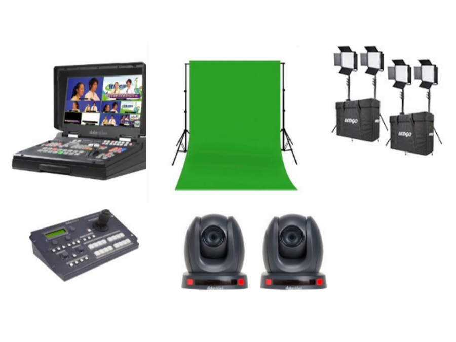 EPB-1340G Educator's production bundle with PTC-140 cameras and Green Screen by Datavideo