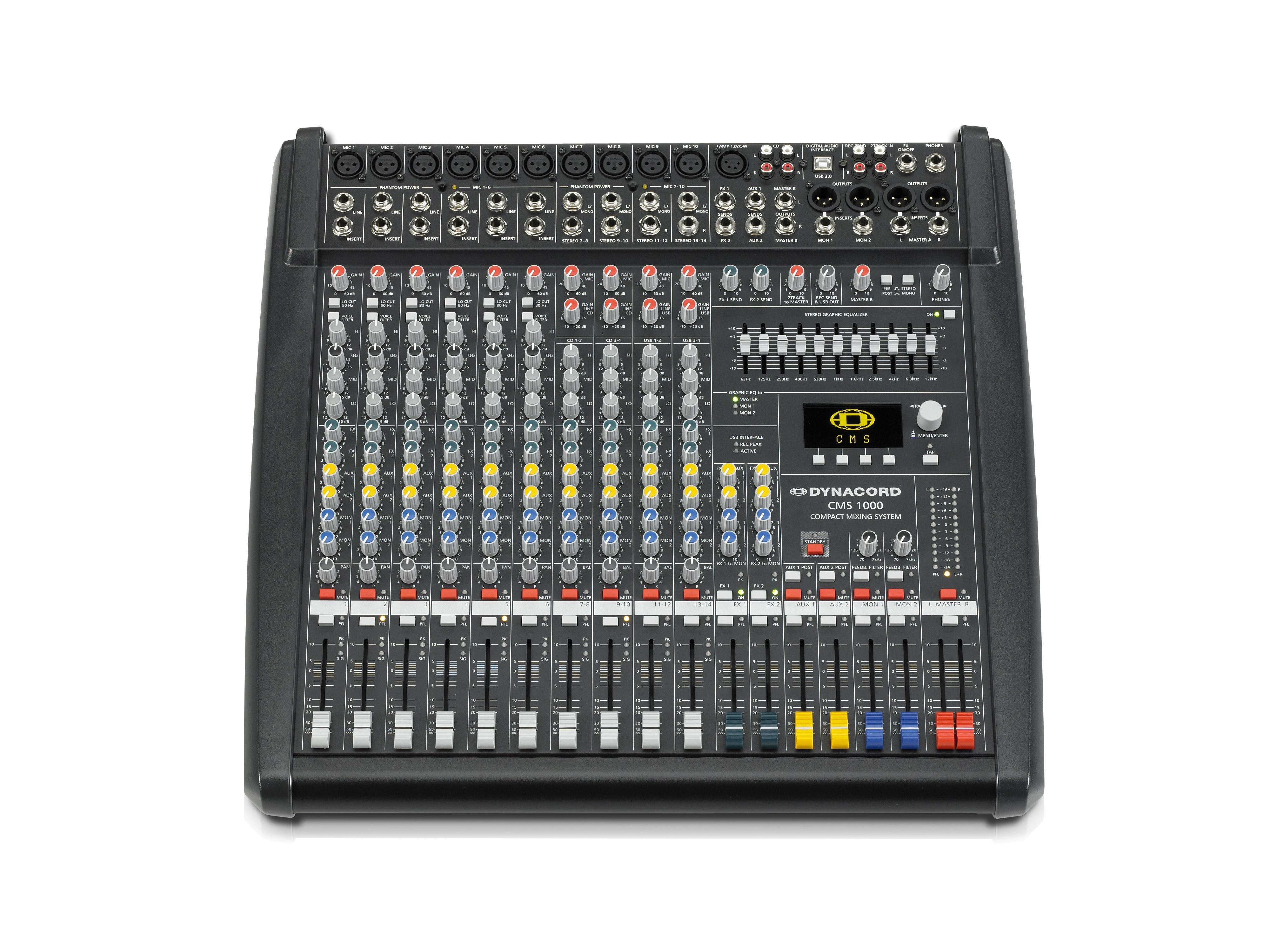 DCCMS10003MIG 6 Mic/Line w 4 Mic/Stereo Line Channels/6 x AUX/Dual 24 bit Stereo Effects/USB-Audio Interface by Dynacord