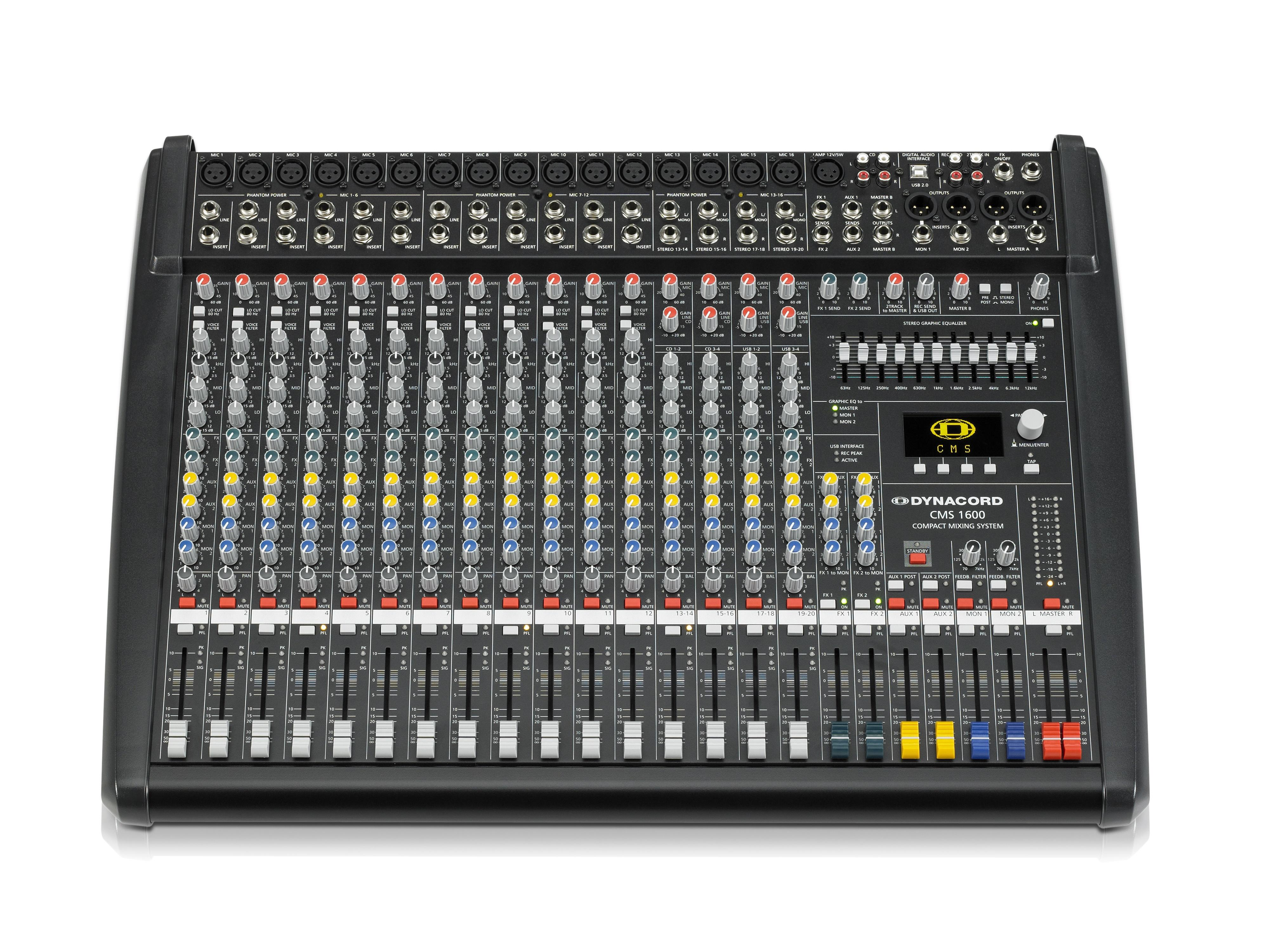 DCCMS16003MIG 12 Mic/Line w 4 Mic/Stereo Line Channels/6 x AUX/Dual 24 bit Stereo Effects/USB-Audio Interface by Dynacord