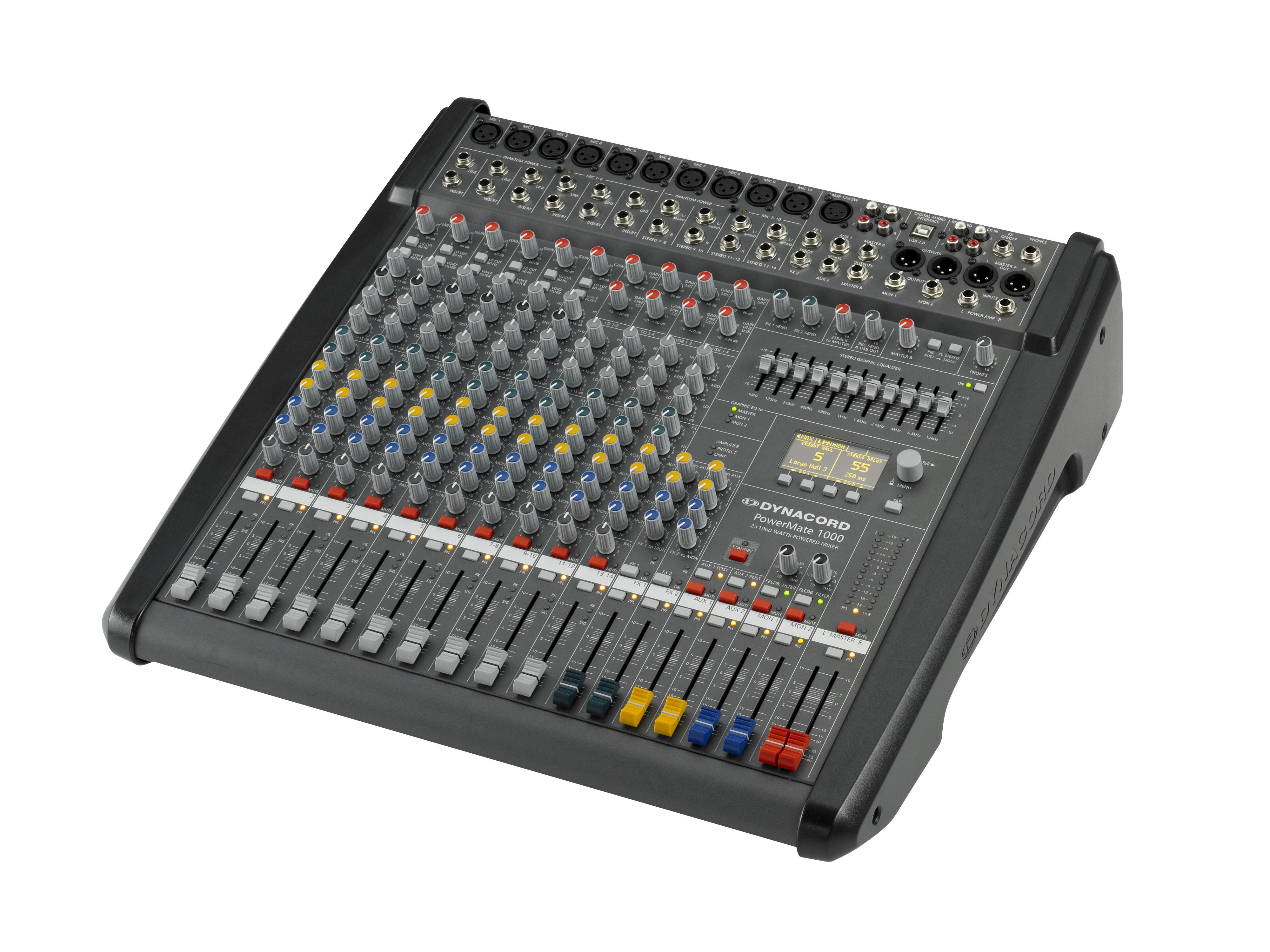 DCPM10003UNIV Power Mixer/6 Mic/Line w 4 Mic/Stereo Line Channels/6xAUX/Dual 24 bit Stereo Effects/USB Audio Interface/Power Amp 2x1000W by Dynacord
