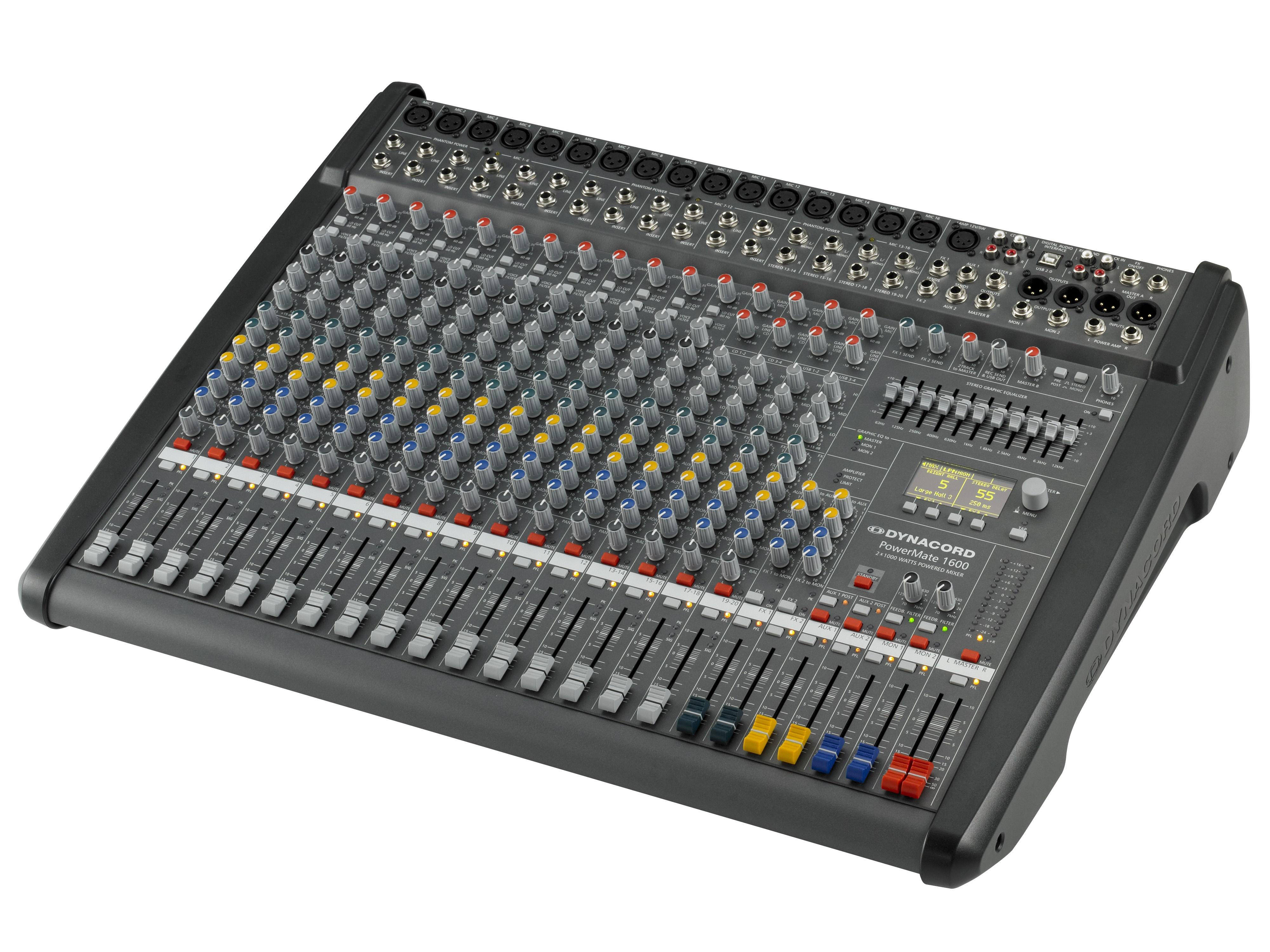 DCPM16003UNIV Power Mixer/12 Mic/Line w 4 Mic/Stereo Line Channels/6xAUX/Dual 24 bit Stereo Effects/USB Audio Interface/Power Amp 2x 1000W by Dynacord