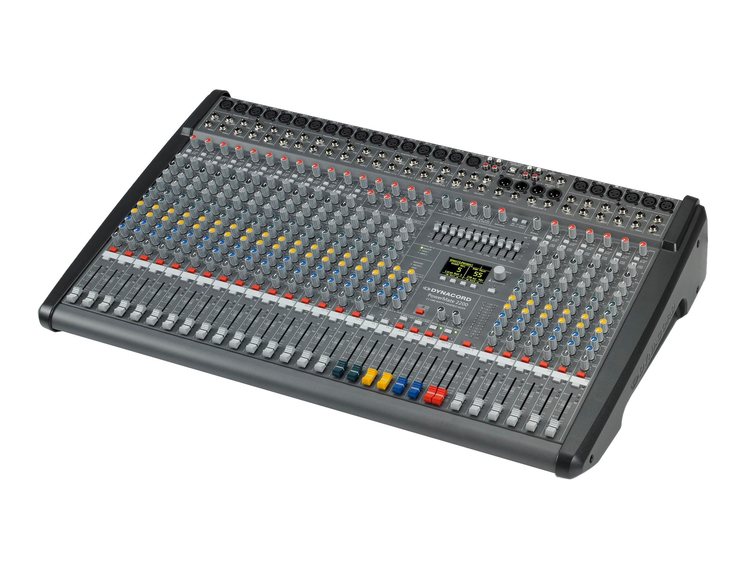 DCPM22003UNIV Power Mixer/18 Mic/Line w 4 Mic/Stereo Line Channels/6xAUX/Dual 24 bit Stereo Effects/USB Audio Interface/Power Amp 2x1000W by Dynacord
