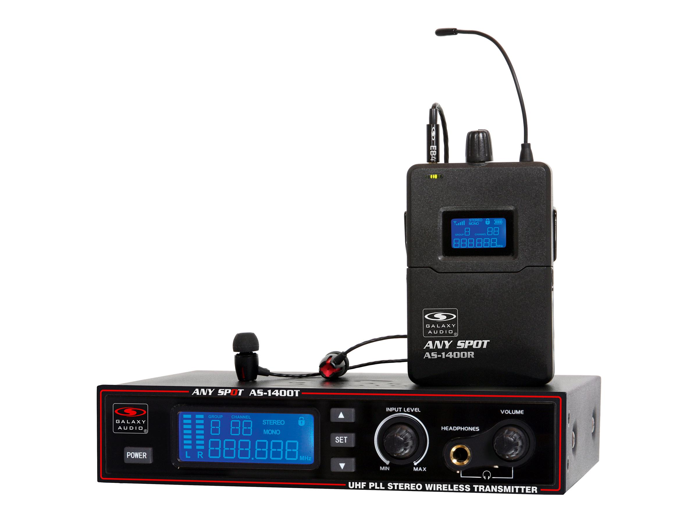 AS-1400 Wireless In-Ear Personal Monitor (Transmitter/Receiver) Kit/40Hz-16kHz by Galaxy Audio