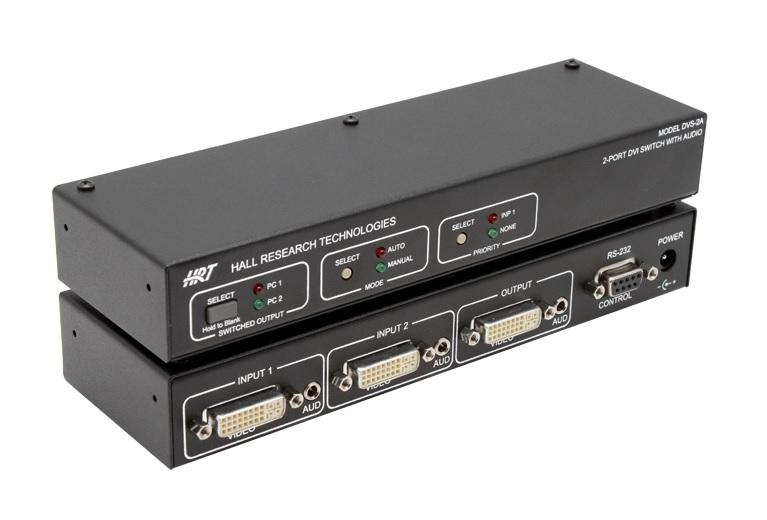 DVS-2A 2-Port DVI Switch with Audio/Serial Control/Long Cable Equalization by Hall Research