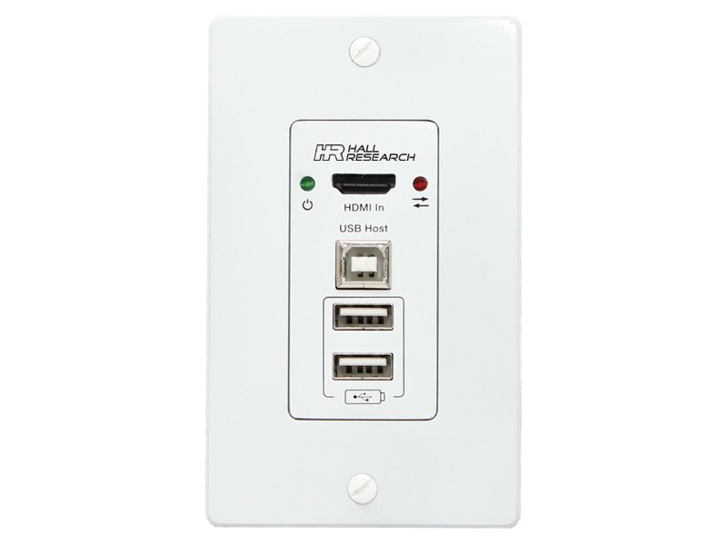 EX-4KU-WP USB2.0 and HDMI Single Gang Wall-Plate Extender (Transmitter) by Hall Research